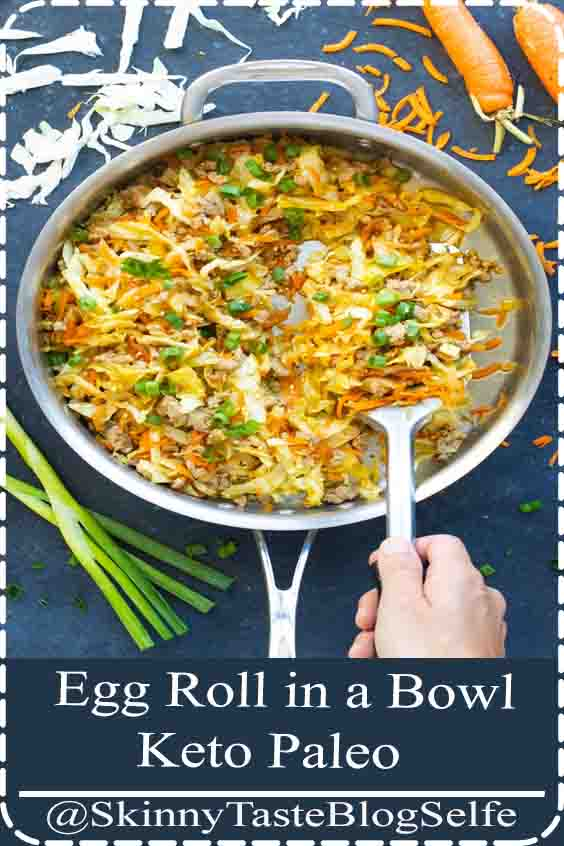 4.9 | ★★★★★ This Egg Roll in a Bowl recipe is loaded with Asian flavor and is a Paleo, Whole30, gluten-free, dairy-free and keto recipe to make for an easy weeknight dinner. From start to finish, you can have this low carb and healthy family dinner recipe ready in under 30 minutes! #Groundturkey, sesame oil, cabbage, and carrots make up the bulk of this #Asian flavored #lowcarb #healthydinner #glutenfree #keto #backtoschool #eggrollinabowl #evolvingtable