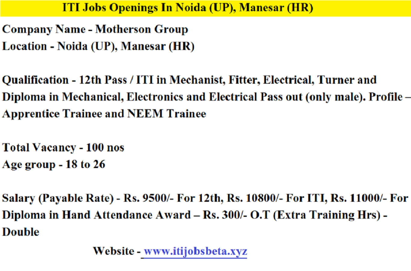 ITI Jobs Vacancy In Motherson Group Noida And Manesar