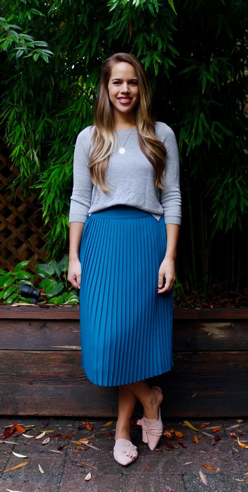 Jules in Flats - Pleated Midi Skirt with Crop Sweater (Business Casual Fall Workwear on a Budget)