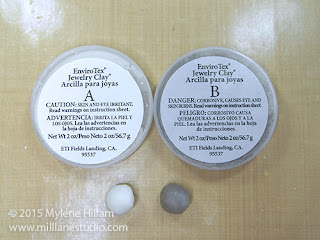 Two equal sized balls of the EnviroTex Jewelry Clay; one is Part A and the other is Part B.