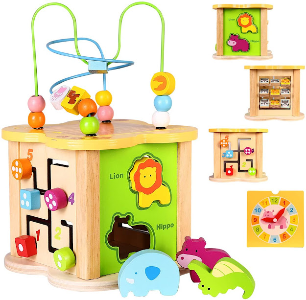 Baby Small Activity Cube Toys 6-in-1 Play Center Wooden