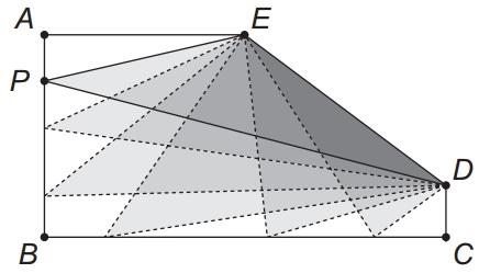 figura mostra um pentágono ABCDE tal que AB = 4, BC = 8, CD = 1, AE = 4 , e os ângulos ABC, BCD e EAB são retos