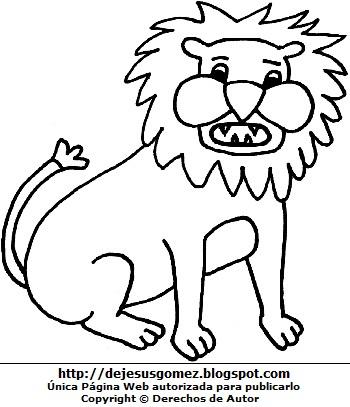 Dibujo de un león para colorear o pintar imprimir para niños. Dibujo de león hecho por Jesus Gómez