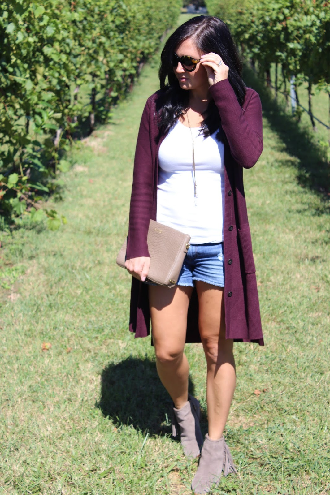 burgundy cardigan, how to wear booties with shorts