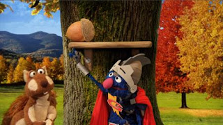 Super Grover helps a squirrel. Super Grover 2.0 The Acorn. Sesame Street Episode 4416 Baby Bear's New Sitter season 44