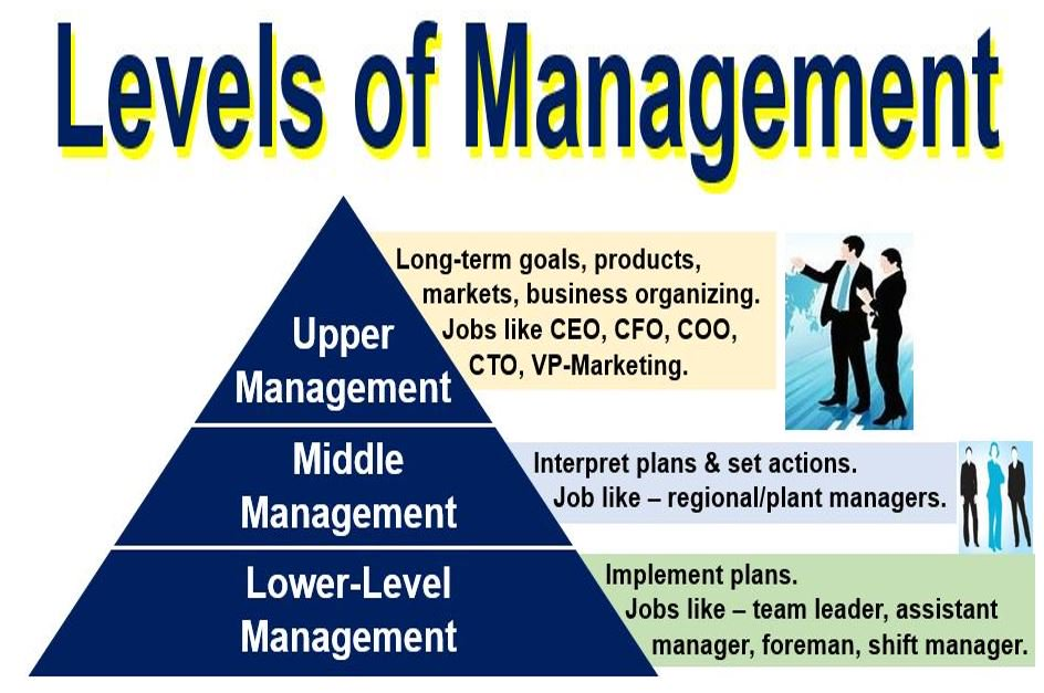 1 top level of management2 middle management 3 supervisory management types or level of management