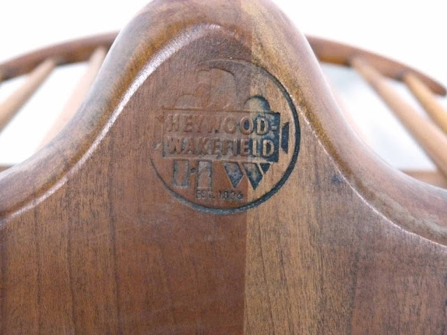 Heywood Wakefield Dowel High Back Mid-Century Doeskin Dining Chairs Logo stamp