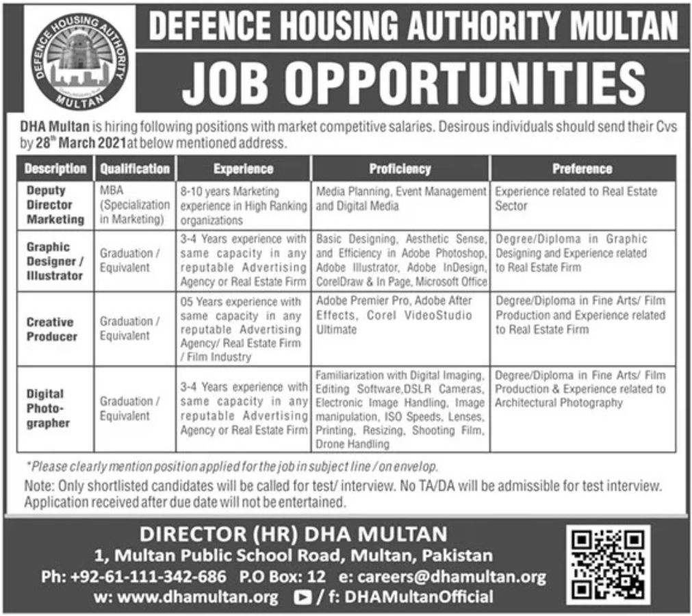 private,defence housing authority dha multan,deputy director, graphic designer, creative producer, digital photographer,latest jobs,last date,requirements,application form,how to apply, jobs 2021,