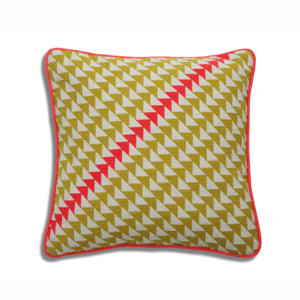 Repeat triangle needlepoint cushion pattern in mustard and orange