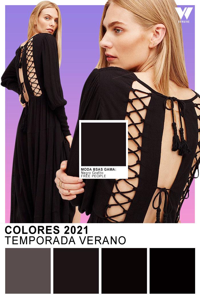 Free People Colores 2021 Temporada Verano Negro Grafito