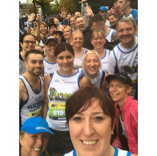 Group selfie of Blackburn Road Runners at the 2019 Manchester Half Marathon