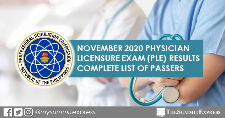 PLE RESULT: November 2020 Physician board exam list of passers, top 10
