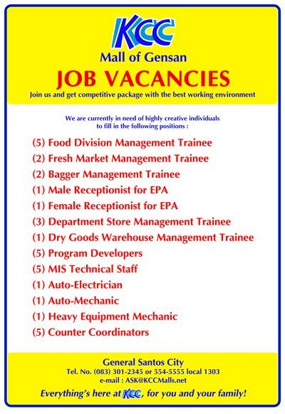 Job Hiring At KCC Mall Of Gensan South Cotabato News I