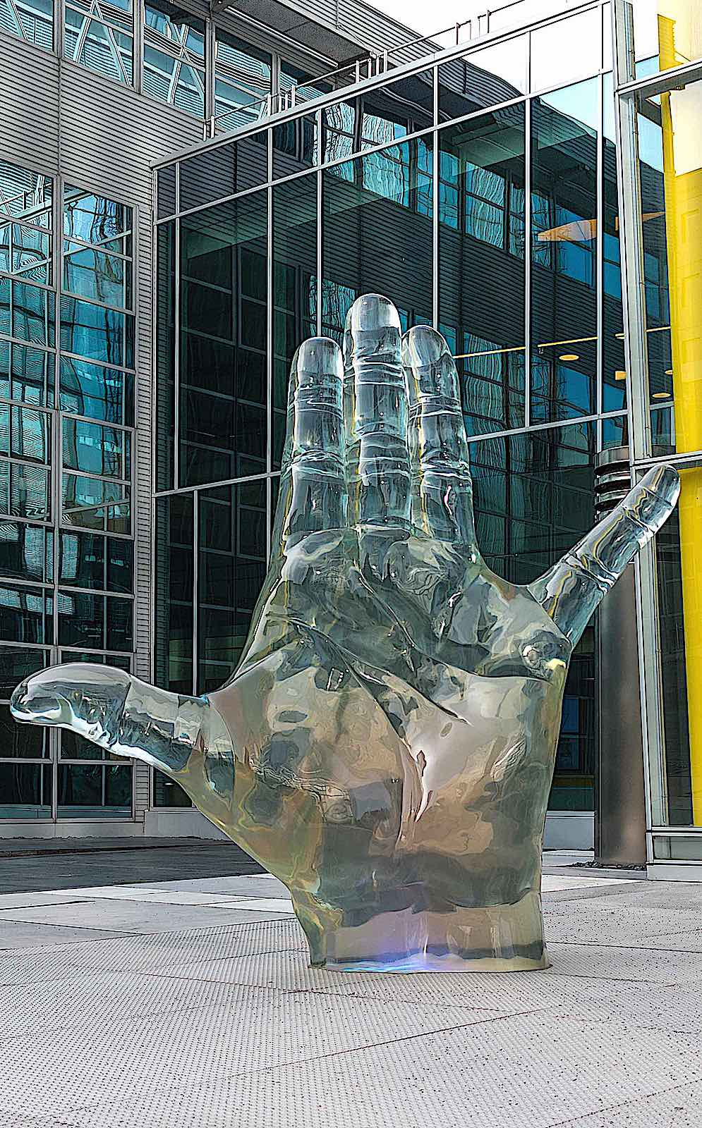 a glass sculpture of a giant hand,  Germany 2016
