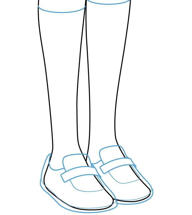 Menggambar sepatu gadis anime dan kaus kaki di tubuh