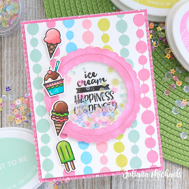 Ice Cream Happiness Condensed Shaker Card by Juliana Michaels featuring Catherine Pooler Designs available at Scrapbook.com