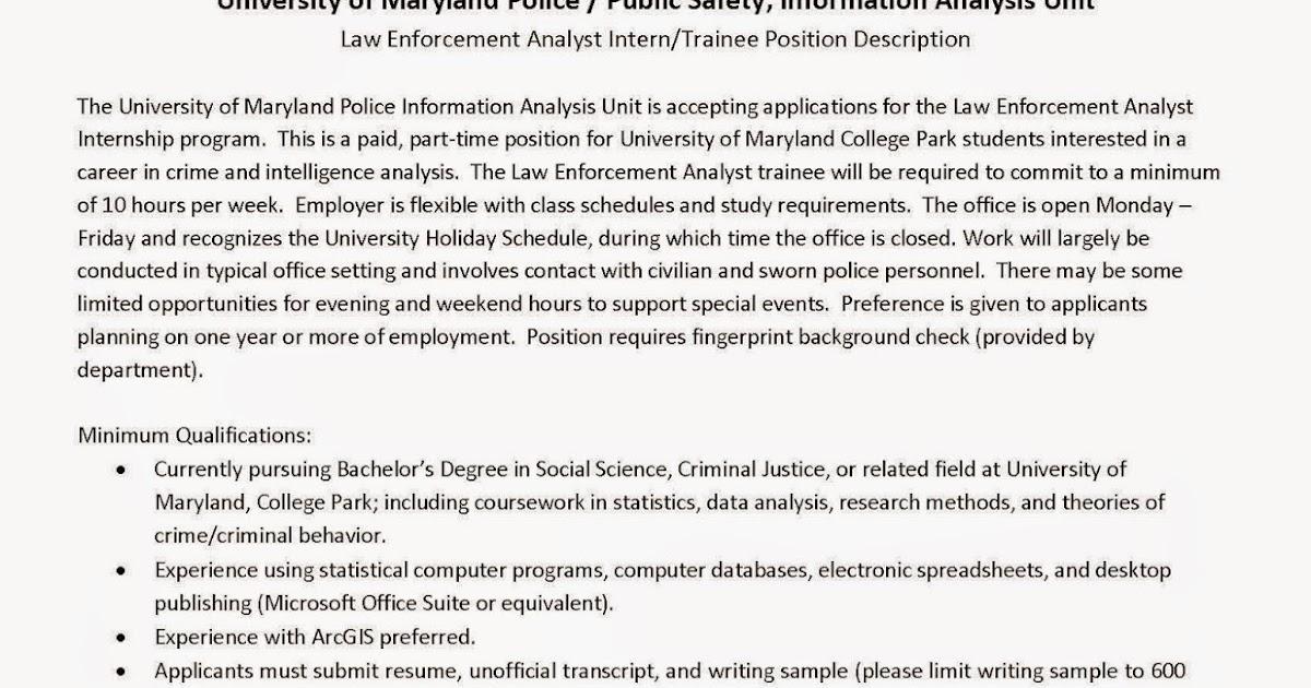 CCJS Undergrad Blog University of Maryland Police Law Enforcement - Office Intern Job Description