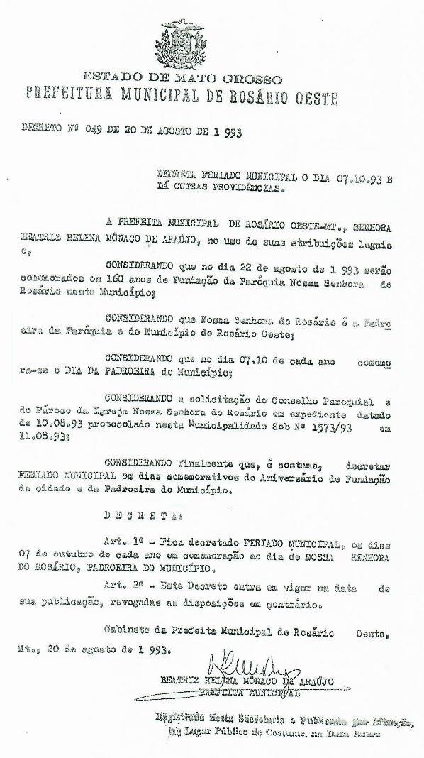 pdf Decreto 049 de 20/08/1993 - Feriado Nossa Senhora do Rosário