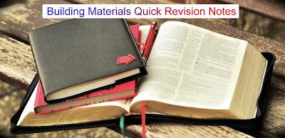Building Materials Quick Revision Notes