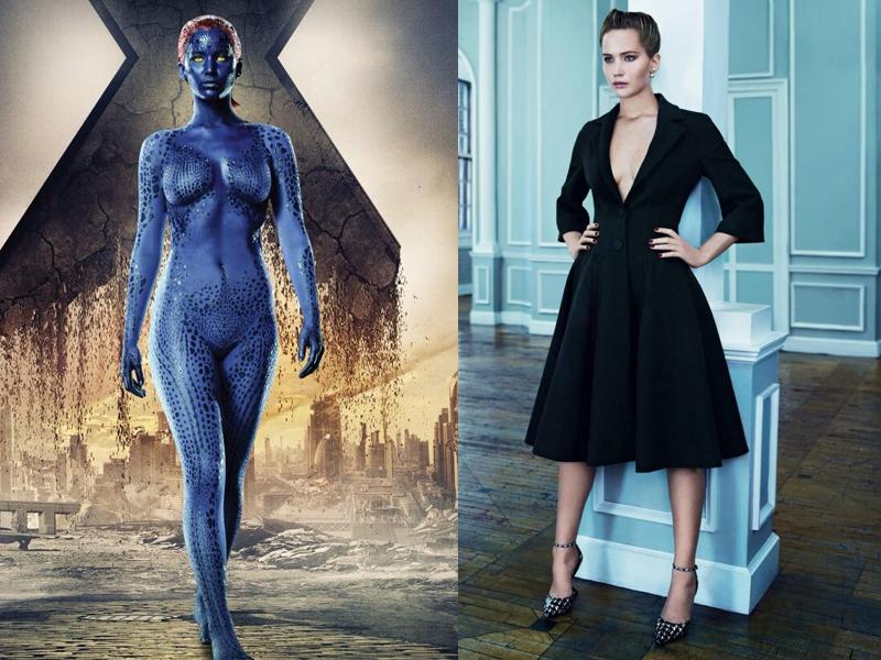 Raven Darkholme a.k.a Mystique di X-Man oleh Jennifer Lawrance seksi hanya dengan cat berwarna biru