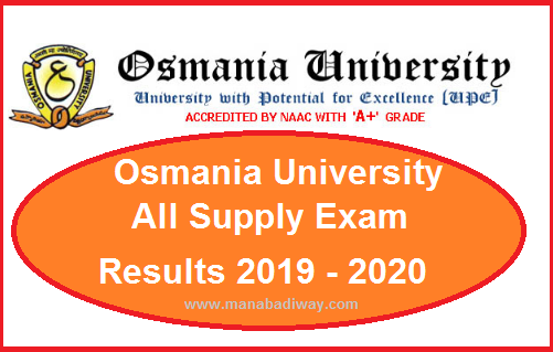 Manabadi OU Degree Supply Results 2019 - 2020