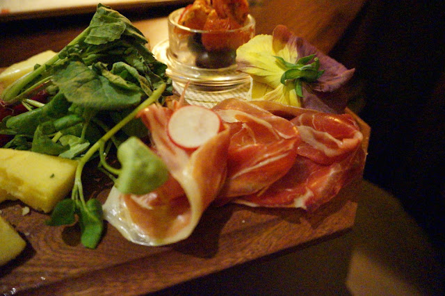 Platter of food in London bar