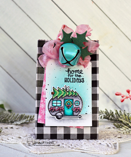 Home for the Holidays | Camper decorated for Christmas tiny gift bag by Larissa Heskett | Christmas Campers Stamp Set, Fancy Edges Die Set by Newton's Nook Designs #newtonsnook #handmade