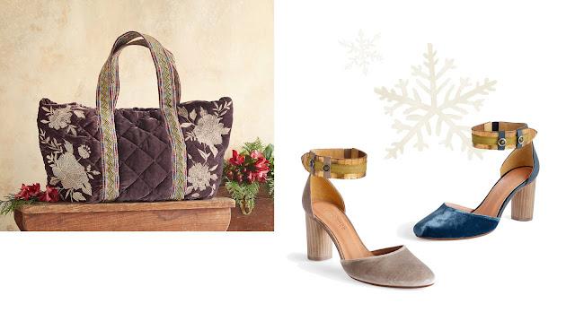 sundance catalog velvet shoes and velvet accessories