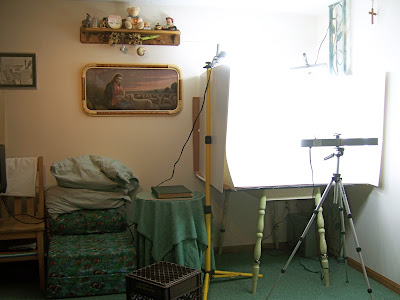 photography light box set up to shoot vintage and handmade Etsy items