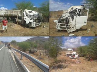 Nova-palmeirense sofre acidente com carreta entre as cidades de Acari e Currais Novos