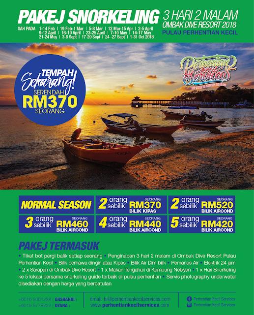 Pakej 3 hari 2 malam snorkeling pulau perhentian kecil 2018 , Pakej pulau perhentian 2018