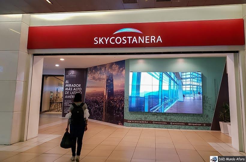 Entrada do Sky Costanera no subsolo do shopping - o que fazer em Santiago