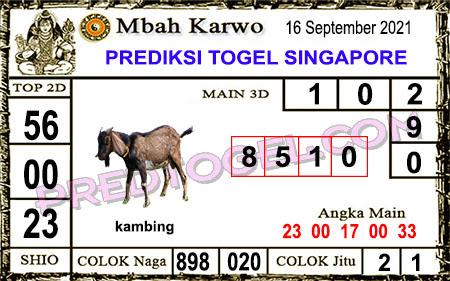Prediksi Mbah Karwo Togel Singapura Kamis 16 September 2021