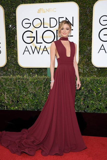 Christine Evangelista's Deep Red Gown At 2017 Golden Globes