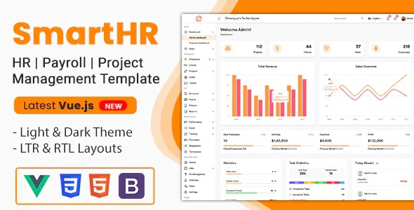 Best HR, Payroll, Project & Employee Management Admin Template