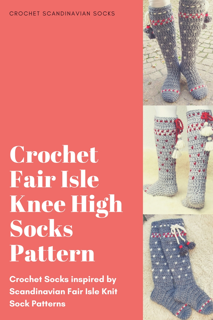 Crochet a pair of socks with a Fair Isle Scandinavian look and feel to them