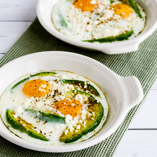 Low-Carb Baked Eggs with Avocado and Feta found on KalynsKitchen.com