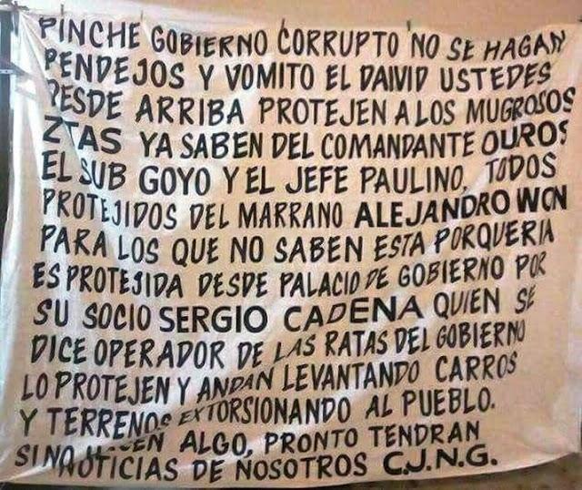 Con narcomanta firmada por CJNG reciben , en Coatzacoalcos, al secretario de la seguridad publica de Veracruz