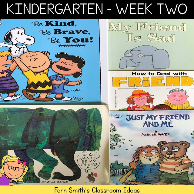 Kindergarten Week Two Themes and Ideas to Help Beginning Teachers in Their New Classrooms. #FernSmithsClassroomIdeas