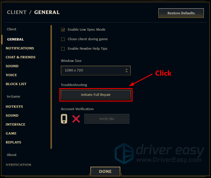 League of Legends - Repair Corrupted Game Files