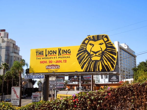 The Lion King musical billboard Sunset Strip