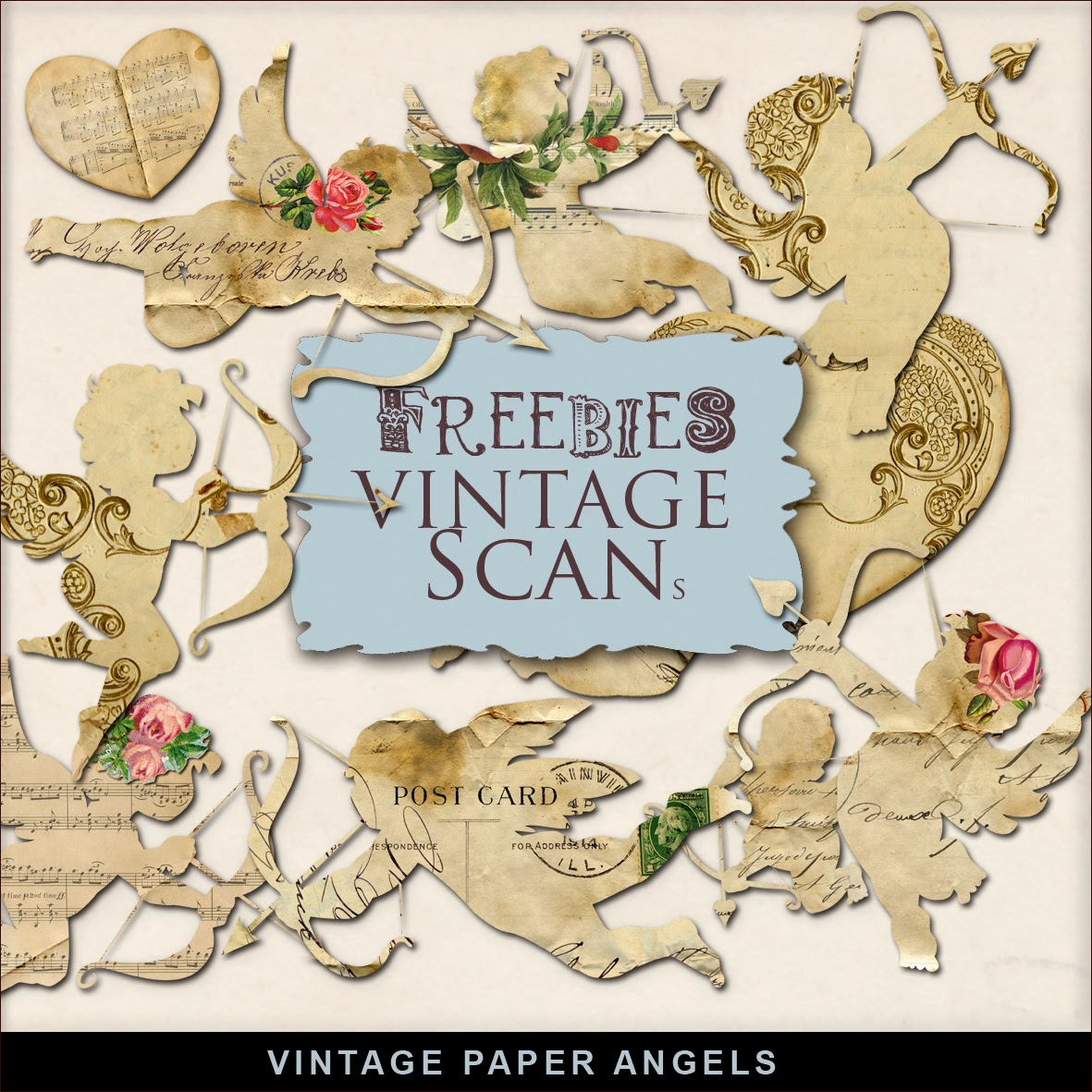 Freebies Kit of Vintage Style Paper Angels