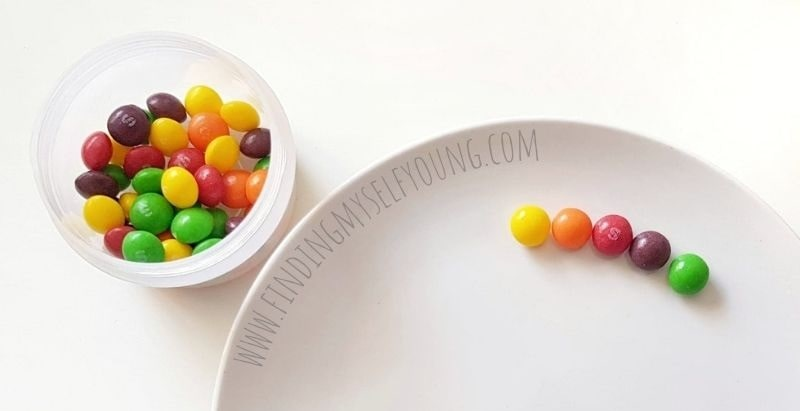 skittle rainbow pattern on the plate