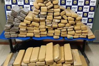 142 kg de drogas em ônibus