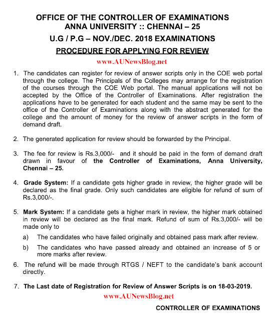 Anna University Nov Dec 2018 exams Review procedure & Last date