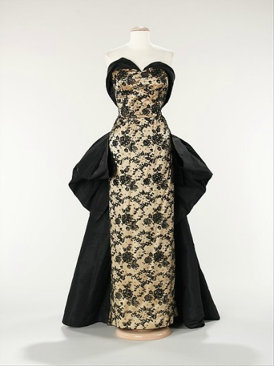 Cream and black embroidered evening gown by Pierre Balmain 1953