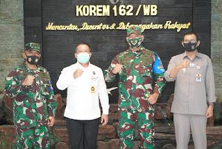 Berkunjung Ke Korem 162/WB, Tim Kemenkopolhukam Apresiasi Upaya Penanganan Covid-19 Di Wilayah NTB