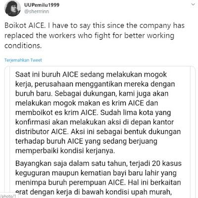 Boikot Aice ramai di dunia maya