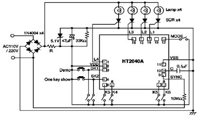 Light Controller Circuit Diagram using HT2040A IC