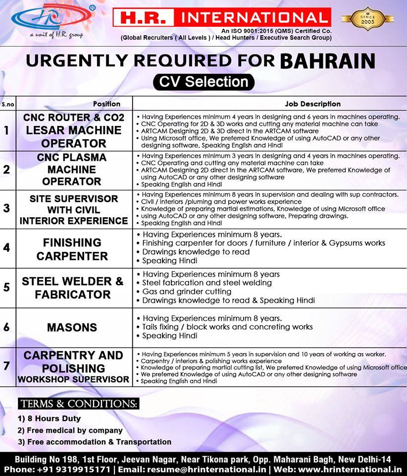 Urgently required for Bahrain